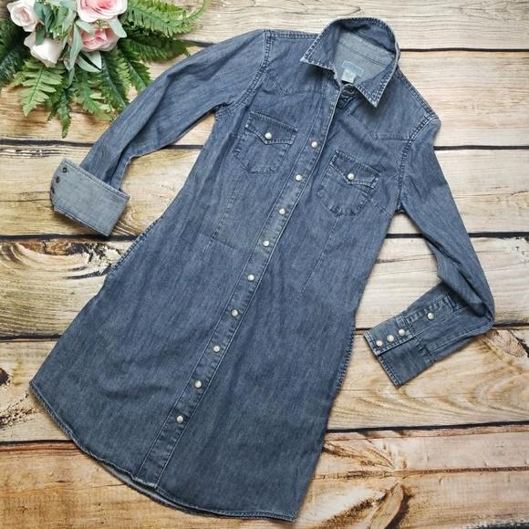 2112ddab65 Lucky Brand Denim Shirt Dress Snap front POCKETS